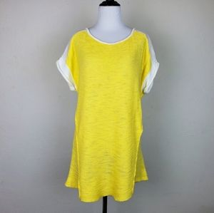 Anthro Michael Stars Color Block Yellow White Top